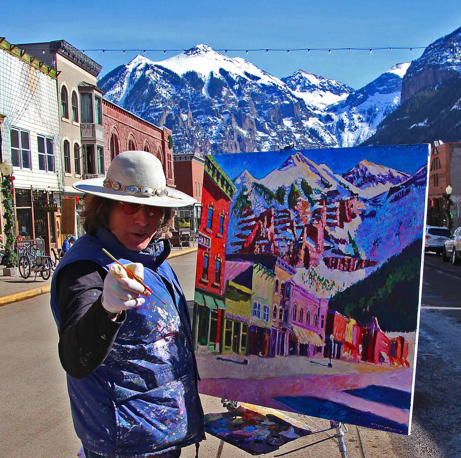 Roger Mason resident artist in Telluride - the New Sheridan Hotel is his muse